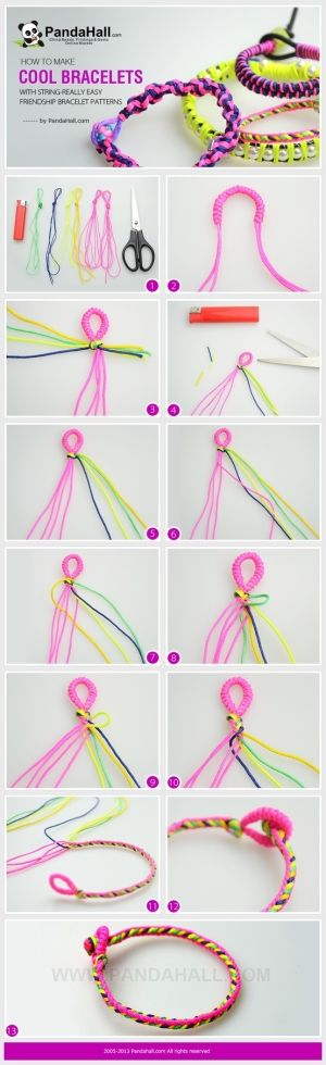 How to make cool bracelets with string-Really easy friendship bracelet patterns by wanting