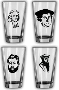 theologian pint glasses....what could be better!!!?? hahaha charles spurgeon, jonathan edwards, martin luther, and john calvin. I need this.