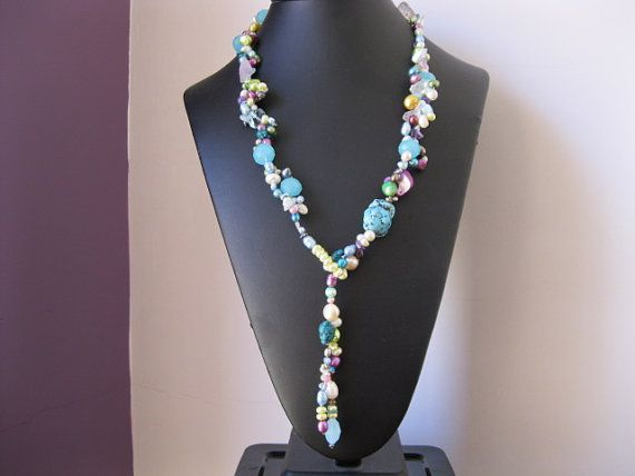 Aquamarine Pearl and Turquoise Y Style Glamour Necklace