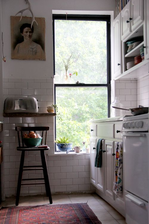 brooklyn to west: Kitchens Window, Black Window, White Tile, Kitchens Design, Small Kitchens, Rental Kitchens, Design Kitchen, White Subway Tile, White Kitchens