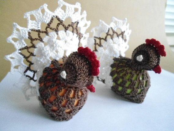 handmade crochet chickens cover,hens eggs cover, easter decoration, crochet easter, crochet cover