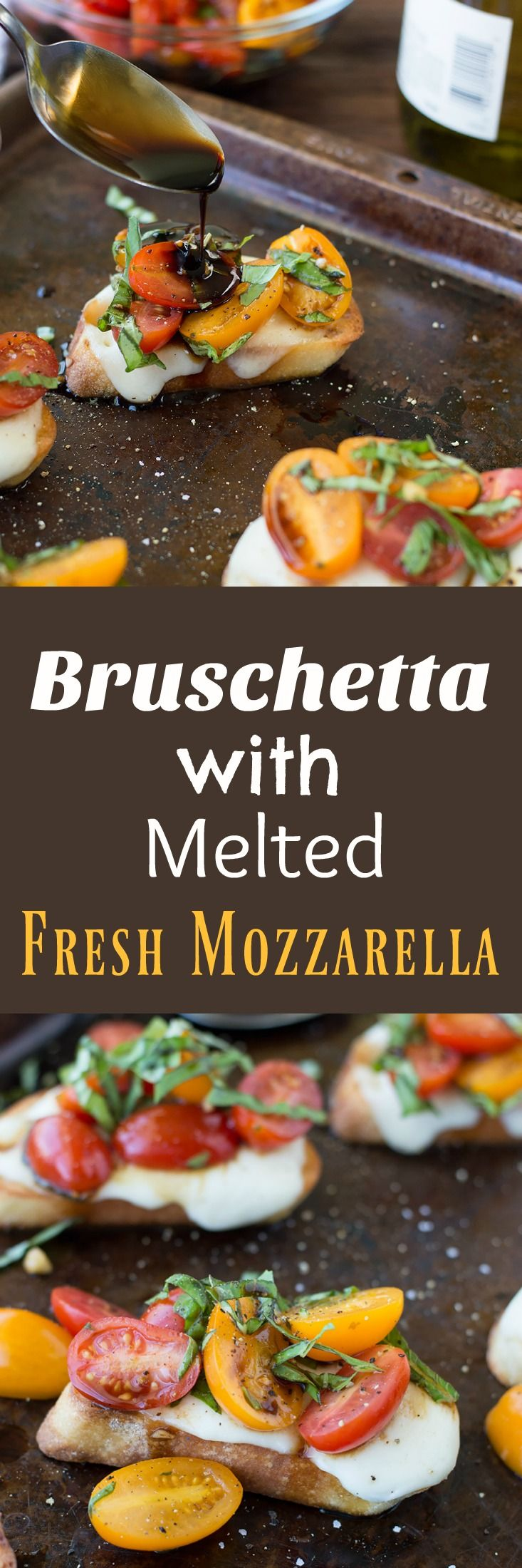 This Bruschetta with Cheese is easy to make with melted fresh mozzarella and french baguettes toasted to golden brown perfection.