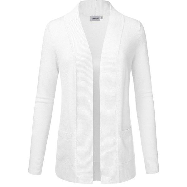 JJ Perfection Women's Solid Knit Open Front Cardigan With Pockets... (23 CAD) ❤ liked on Polyvore featuring tops, cardigans, white knit top, white top, white open cardigan, pocket tops and open front cardigan