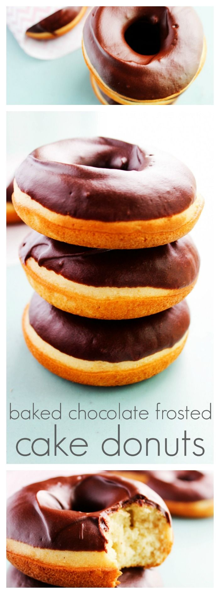 Baked Chocolate Frosted Cake Donuts LONG PIN