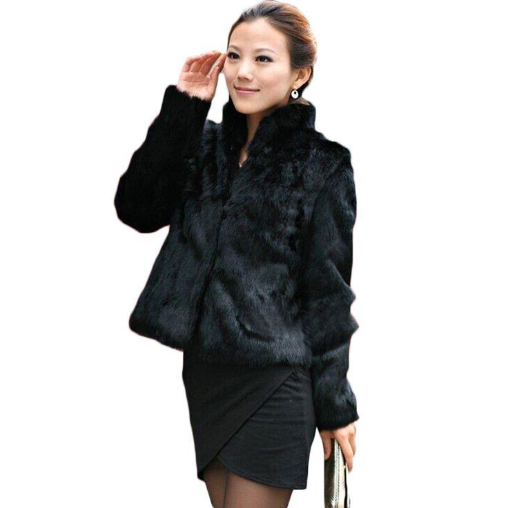2016 Новый женский мех пальто Случайные Короткие Дизайн искусственного кролика шуба Леди Одежды Плюс Размер Теплая осень Зимнее пальто DX335 купить на AliExpress
