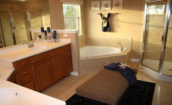 Master bathroom with corner tub dream bathrooms for Master bathroom ottoman
