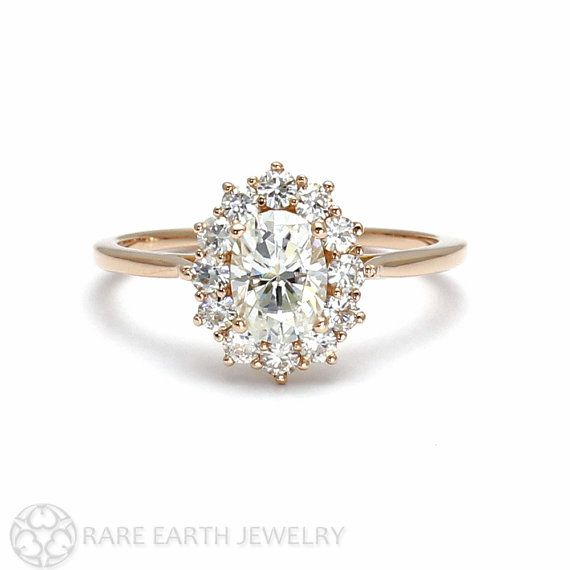 18K Cluster Moissanite Engagement Ring Oval Halo Forever Brilliant Moissanite Ring Conflict Free Diamond $1,199.00