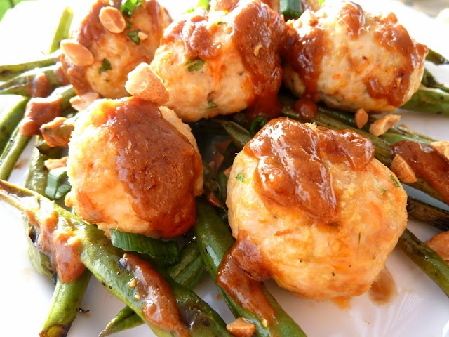 Asian Style Turkey Meatballs with Green Beans and Thick Peanut Sauce