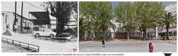Estación de L'Hospitalet, Av. Josep Tarradellas i Joan, año 1973 y en la actualidad