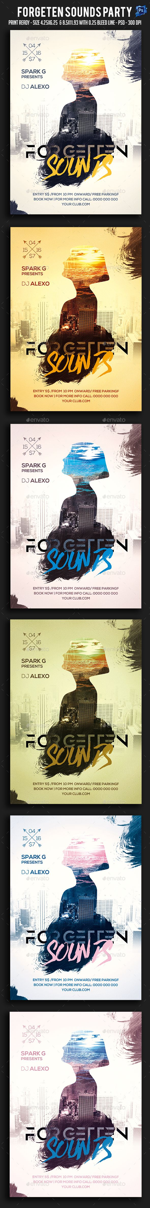 Forgeten Sounds Party Flyer  — PSD Template #trance #dj • Download ➝ https://graphicriver.net/item/forgeten-sounds-party-flyer/18128291?ref=pxcr