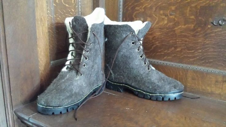 Wet Felted Hiking Boots.  This link will give you a brief overview in how to wet felt boots such as these