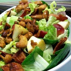 A yummy, healthy salad loaded with nuts, fruit and greens, with the kick of curry and cayenne pepper. My family calls it 'The Good Salad.'