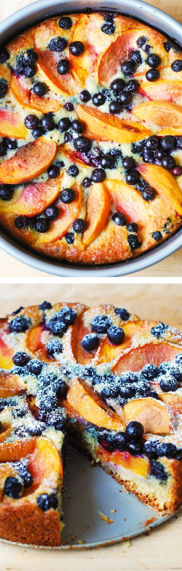 Delicious, light and fluffy Peach Blueberry Greek Yogurt Cake made in a springform baking pan. Greek yogurt gives cake a richer texture! JuliasAlbum.com  #berries #fruit #dessert