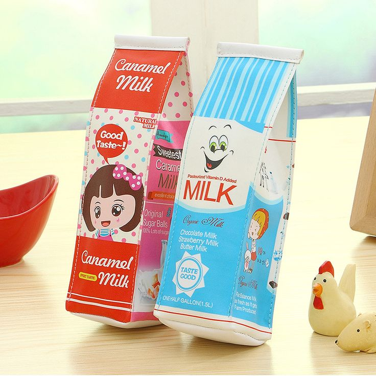 Creative Cute Lifelike 3D Milk Box PU Pencil Case Cosmetic Bag Multi-fuction Storage Bag Material Escolar School Supplies