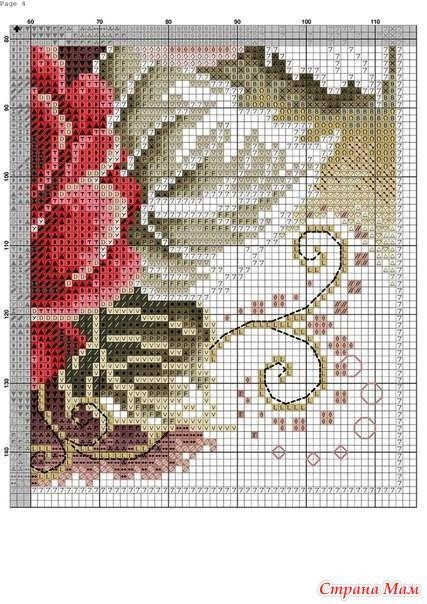 Интересная схема вышивки. Роза - Клуб рукоделия - Страна Мам