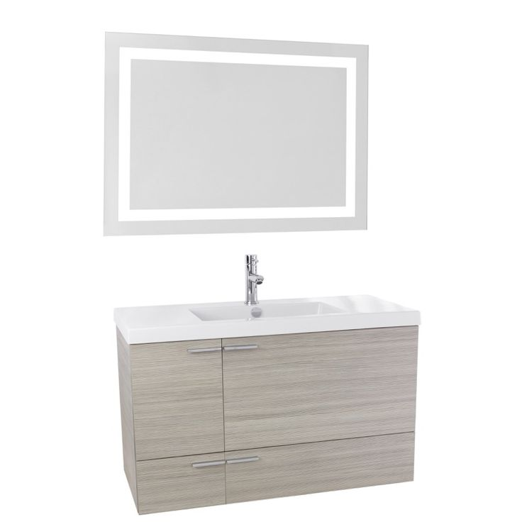 Gallery For Photographers  Inch Larch Canapa Bathroom Vanity with Fitted Ceramic Sink Wall Mounted Lighted Mirror