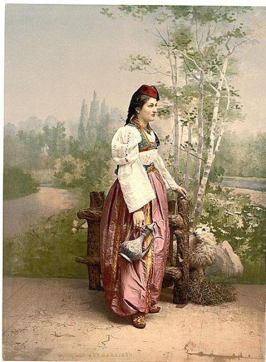 Girl in traditional dress in Sarajevo,Bosnia in 1890s