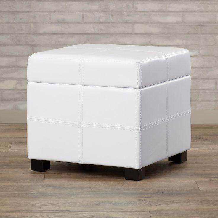 White storage ottoman