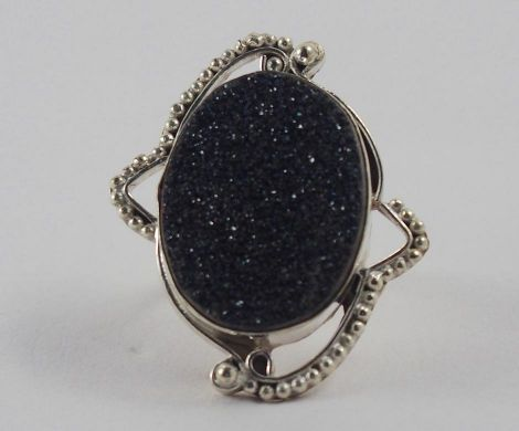 Handmade Silver Plated Ring with Black Druzy Stone