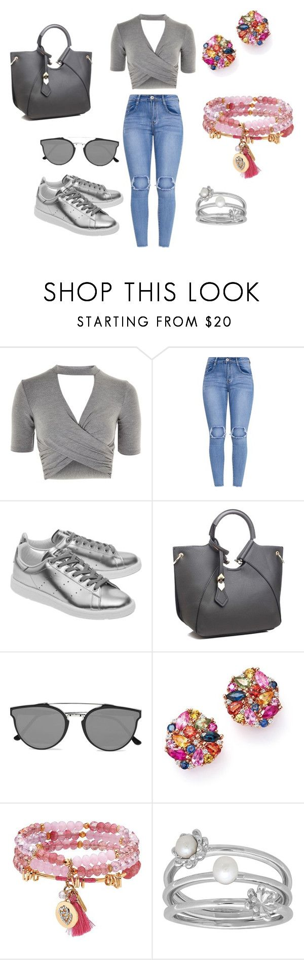 """""""Multicolor grey"""" by elisa-itgirl ❤ liked on Polyvore featuring Topshop, adidas Originals, RetroSuperFuture, Bloomingdale's, Lonna & Lilly and Lord & Taylor"""