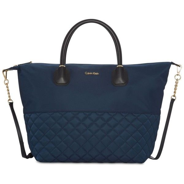 Calvin Klein Florence Extra-Large Nylon Tote ($119) ❤ liked on Polyvore featuring bags, handbags, tote bags, navy, quilted nylon tote, blue tote, nylon tote, calvin klein tote and handbags totes