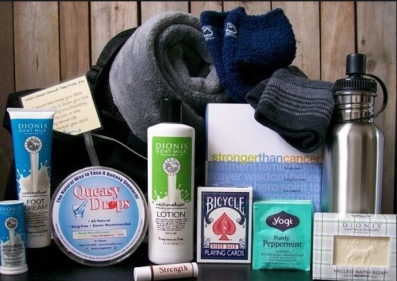 Chemo care package for men ideas.  Cozy socks, water bottle with sports lid (so you can drink laying down, warm blanket, lotion, cards, hand sanitizer, something to sooth queasy tummy. Maybe some green tea too.