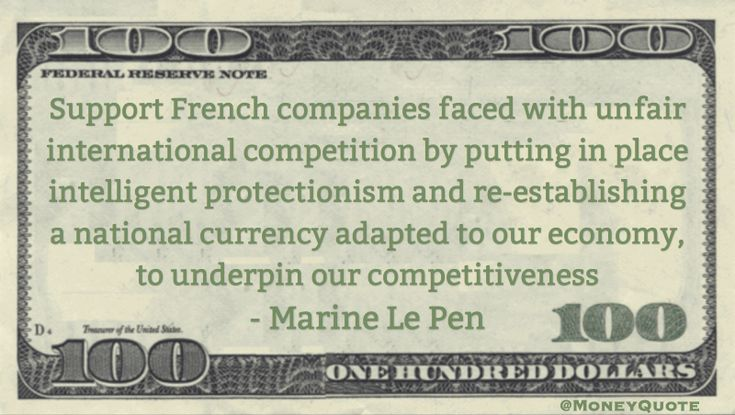 Marine Le Pen Money Quote saying during 2017 French election the far-right candidate suggests defaulting on French debt to save French companies