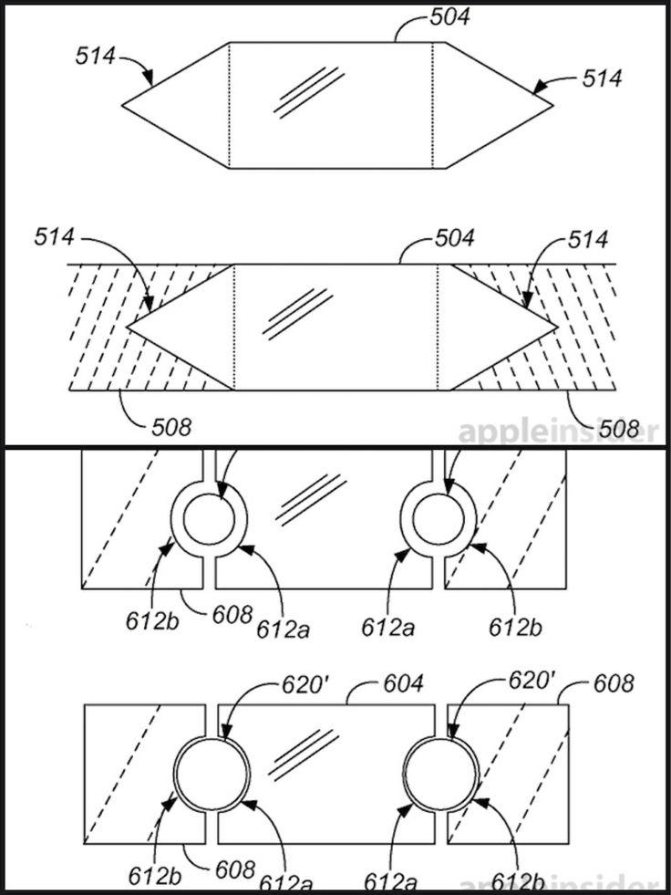"""Il brevetto Apple che spiega il processo in cui il display in vetro di un iPhone (compreso lo zaffiro) è integralmente unito con una cornice fatta di lega metallica amorfa, il Liquidmetal. Questa la traduzione del titolo del brevetto: """"Metodi e sistemi per intrappolare integralmente un inserto di vetro in una cornice di metallo"""""""