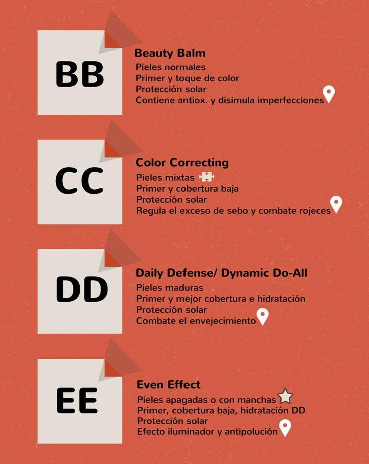 Diferencias entre BB Cream  CC cream  DD cream EE cream #skintype #beauty #cosmetics Cosméticos al desnudo