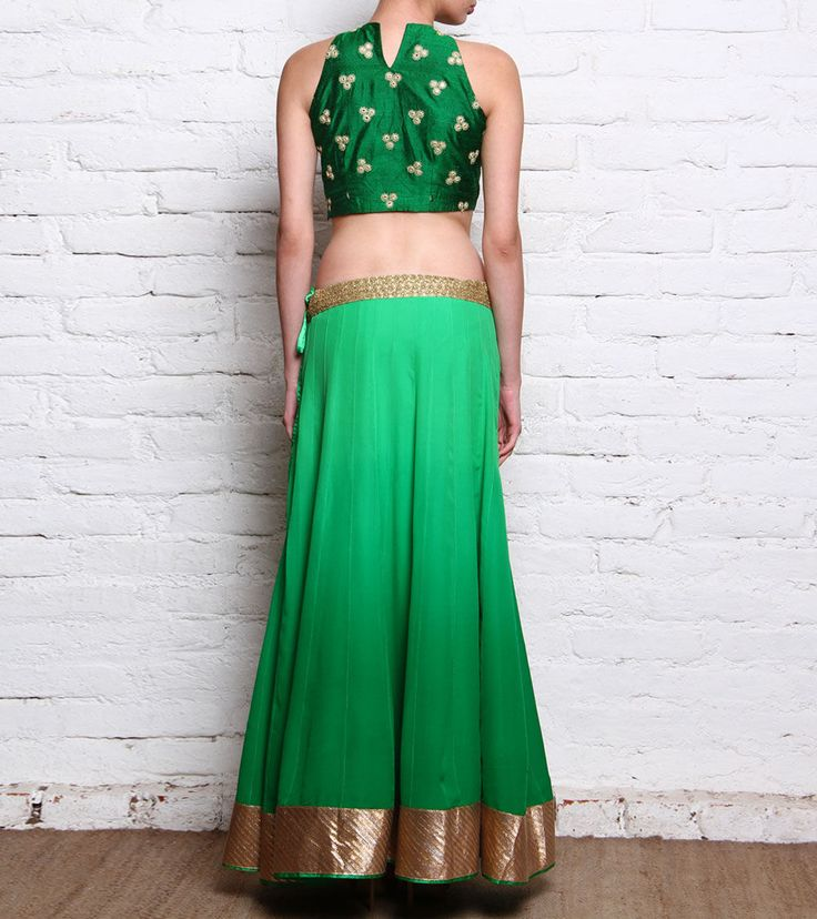 Green Dabka Embroidered Raw Silk Crop Top With Georgette Lehenga Skirt