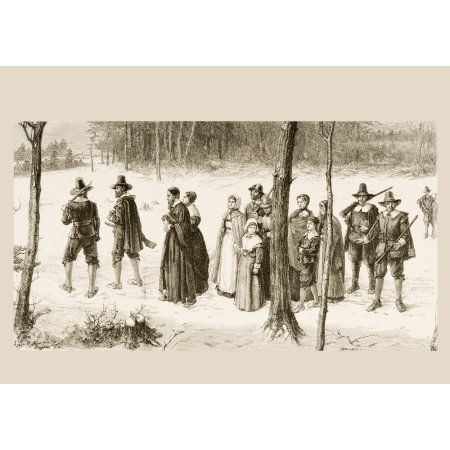 Pilgrim Fathers Going To Church From American Pictures Drawn With Pen And Pencil By Rev Samuel Manning Circa 1880 Canvas Art - Ken Welsh Design Pics (34 x 24)