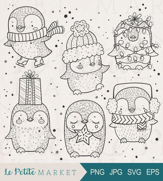 Niedliche handgezeichnete Pinguin ClipArt, niedlichen Pinguin Clipart, Urlaub-Pinguin-ClipArt-Grafiken, Urlaub digitale Briefmarken, Weihnachten Clipart