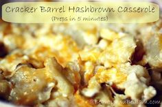 Copy Cat Cracker Barrel Hash brown casserole recipe - whips up in five minutes and is the best in comfort food.