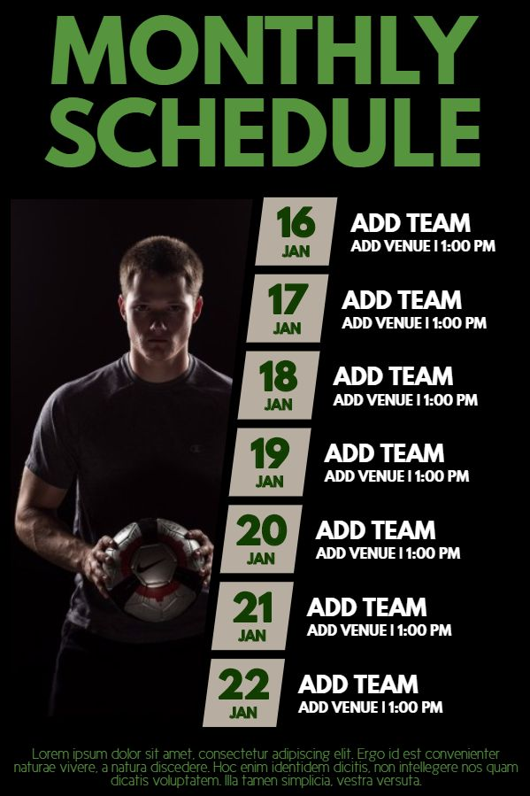 Soccer match schedule poster template