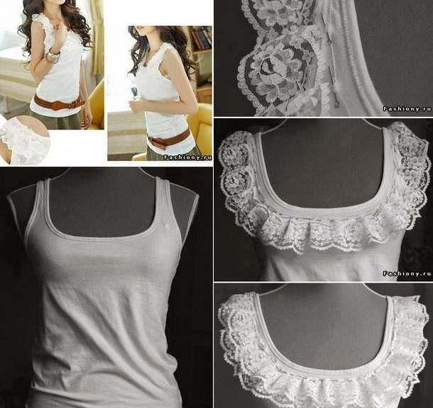 Plain tank transformed with vintage ruffled lace