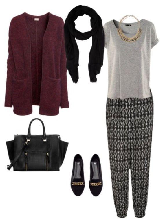 Black & White Harem Pants w/ Maroon Cardigan http://welldressedhijabies.tumblr.com