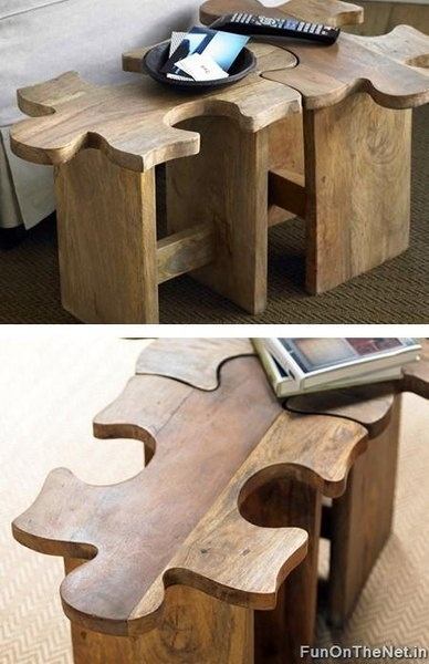 Puzzle stools! Could mix diff woods or diff colour stools. Can be a table or a chair.