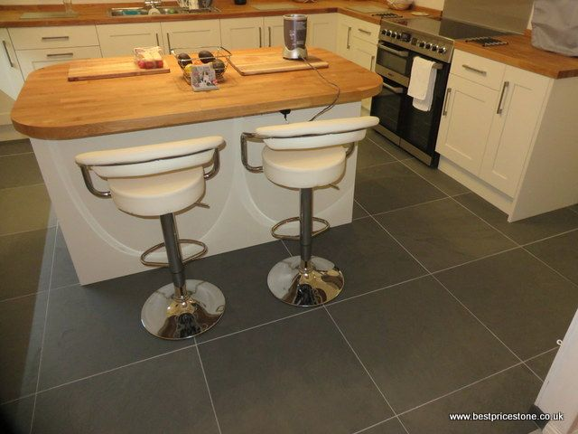 Brazilian Grey Green floor tiles - looks great.