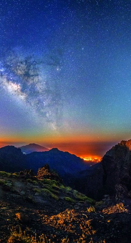 The starry sky over La Palma de Mallorca
