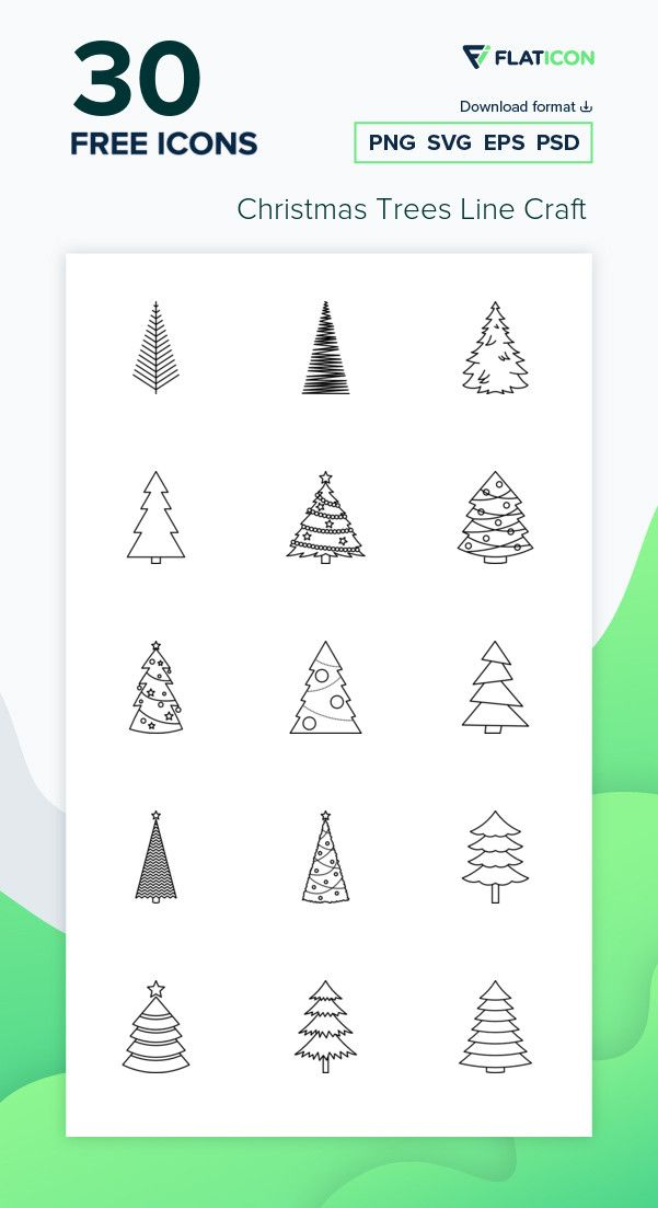 30 Free Vector Icons Of Christmas Trees Line Craft Designed By Freepik Free Icon Packs Tree Icon Christmas Icons