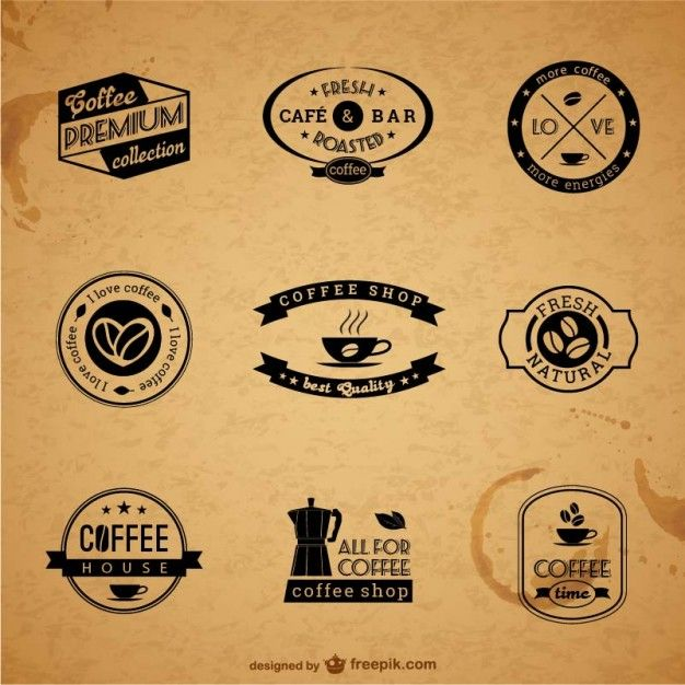 Premium Coffee Labels and Badges Free Vector