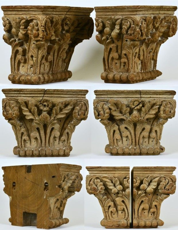 A Pair Of 19th Century Foliage Carved Oak Column Capitals
