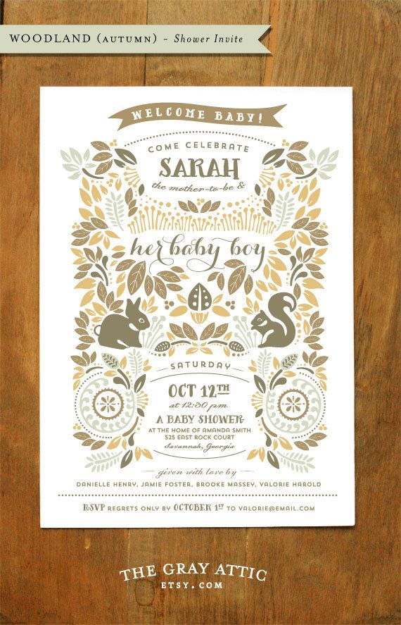 These are gorgeous and fit my theme perfectly excerpt a little peach or pink would be nice. Woodland Autumn Invitation  Announcement by TheGrayAttic on Etsy, $50.00 for 25 invitations with envelopes and up to 3 proofs for customizing