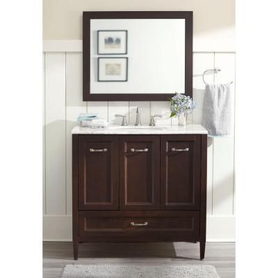 Home Decorators Collection Claxby 36 In Vanity In Chocolate With Stone Effects Vanity Top In