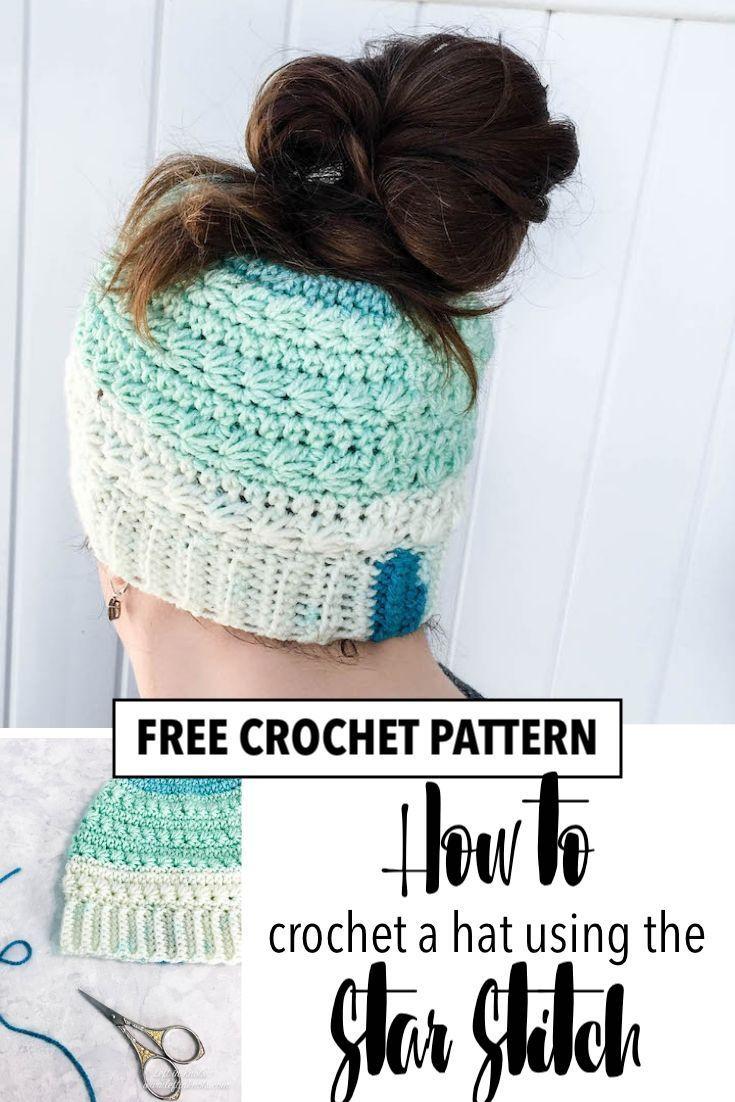 Crochet Snow Drops Messy Bun Hat – Free Crochet Pattern The Snow Drops Messy Bun…