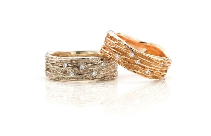 trouwringen in roodgoud met diamant en witgoud, champagne kleur, champagnewitgoud met diamant.  Deze ringen kunnen ook in het geelgoud gemaakt worden
