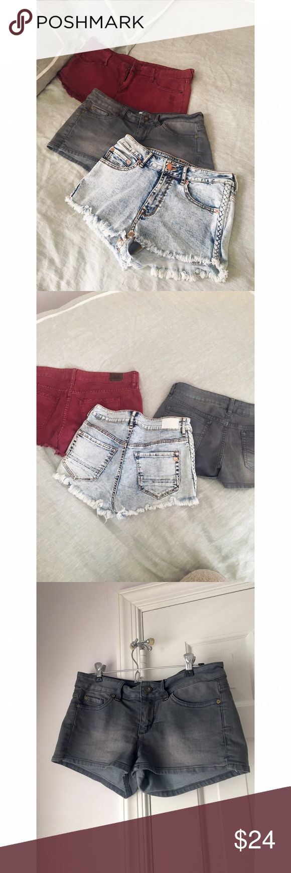 Jean Shorts Bundle Offer 3 for 24 Get all three pairs for $24 plus you save on shipping! (1) dark red pair is BDG size 28 low rise fit (2) dark gray pair is O'Neill size 7 low rise fit (3) light acid wash pair is Kendall & Kylie size 5 high rise fit and are stretchy. They are all in great condition and have been worn only a handful of times. They are all for sale individually in my closet as well this is just a promo offer because I don't fit into them anymore and really need to clear out my…