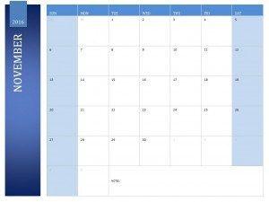 November 2016 Calendar Template - Printable Calendar Templates