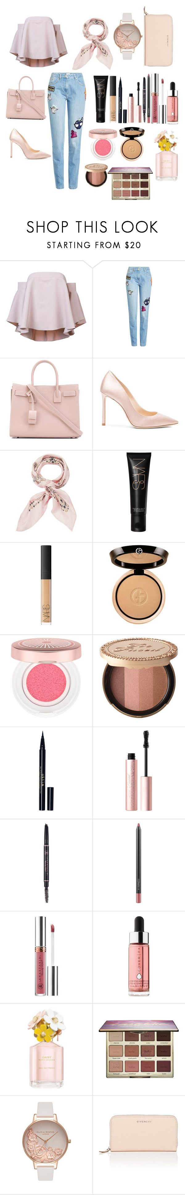 """Untitled #112"" by rahmadita14 on Polyvore featuring Milly, Kenzo, Yves Saint Laurent, Jimmy Choo, Manipuri, NARS Cosmetics, Giorgio Armani, Lancôme, Too Faced Cosmetics and Stila"