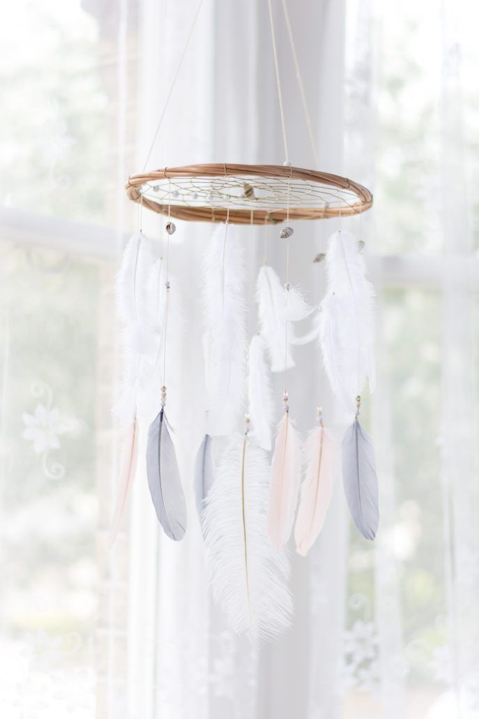 Blush Pink, Grey & White Dreamcatcher Mobile